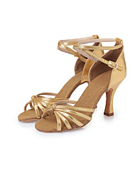 Non Customizable Women's Dance Shoes Leatherette Leatherette Latin Heels Stiletto Heel Indoor Gold CL28