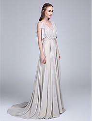 LAN TING BRIDE Sweep / Brush Train V-neck Bridesmaid Dress - Elegant Sleeveless Chiffon