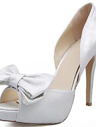 Women's Heels Spring Summer Fall Winter Comfort Satin Wedding Party & Evening Stiletto Heel Bowknot White Walking