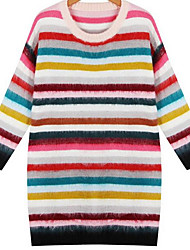 Women's Casual/Daily Simple Sweater Dress,Geometric Round Neck Above Knee Long Sleeve Multi-color Cotton Fall / Winter Mid Rise
