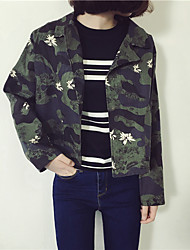 Women's Casual/Daily Simple Jackets,Camouflage Long Sleeve Fall Green Cotton Medium