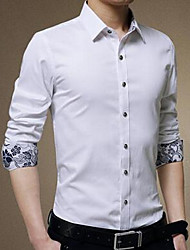 Men's Going out Simple Fall Shirt,Solid Shirt Collar Long Sleeve Blue / White Cotton Medium