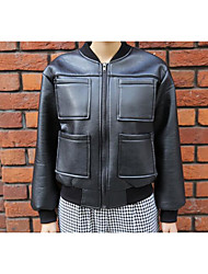 Women's Casual/Daily Simple Leather Jackets,Solid 3/4 Length Sleeve Autumn Black PU Medium