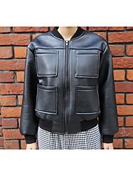 Женский На каждый день Однотонный Кожаные курткиПростое ЧерныйПолиуретановая,Средняя