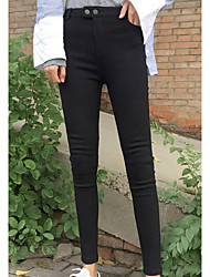 Women's Slim Jeans Pants,Casual/Daily Simple Solid Low Rise Zipper / Button Cotton Micro-elastic Fall / Winter