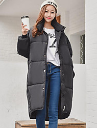 Women's Long Padded Coat,Street chic / Sophisticated Work / Sports Solid-Cotton Cotton Long Sleeve Stand Black