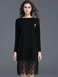 Courte Robe Femme Décontracté / Quotidien simple,Couleur Pleine Col Arrondi Mi-long Manches Longues Noir Polyester Automne Taille Normale