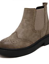 Women's Boots Winter Comfort PU Casual Platform Split Joint Black Khaki Other