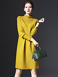 Women's Casual/Daily Simple Sweater Dress,Solid Turtleneck Midi Long Sleeve Red / Green / Yellow Polyester Spring / Fall Mid Rise