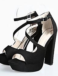 Women's Sandals Summer Platform / Ankle Strap Fabric / Glitter Party & Evening / Dress Chunky Heel Buckle Black / Gray
