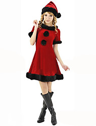 Cosplay Costumes Festival/Holiday Halloween Costumes Red Black Solid Dress Hats Christmas Pleuche