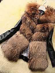 Women Faux Fur / Faux Leather Top , Belt Not Included Plus Size Luxury Fur Coat