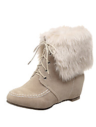 Women's Frosted Lace Up Round Closed Toe Low Heels Low Top Boots