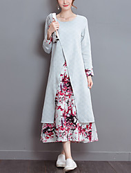 Women's Casual/Daily Vintage Loose Dress Print / Patchwork False Two Midi Long Sleeve Blue Cotton / Linen Spring / Fall