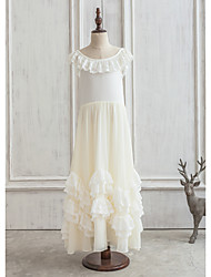 Princess Floor-length Flower Girl Dress - Satin/Lace/Composites/Spandex Sleeveless Scoop Neck With Ruffles/Lace