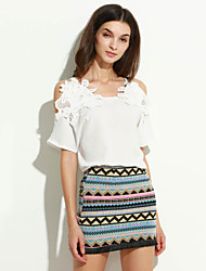 Women's Going out Sexy Summer Set,Patchwork Square Neck ¾ Sleeve White Nylon Thin
