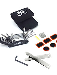 Bike Repair Set Bag Bicycle Multi Function 16 in 1 Tool Kit Hex Key Wrench Tire Patch Lever (No Glue Included)
