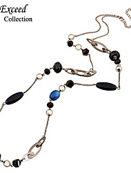 Hot Simple Long Chain Statement Necklace With Crystal And Cat Eye Stone Beads For Women NL140570