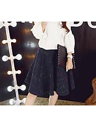 Damen Röcke,Bodycon PunkteLässig/Alltäglich Hohe Hüfthöhe Midi Reisverschluss Baumwolle Micro-elastisch Herbst