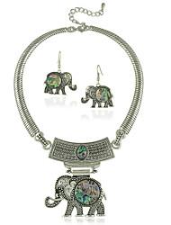 Animais de Jias de Estilo Tibetano Elefante Gargantilha Colar e Brinco Conjunto de Jias