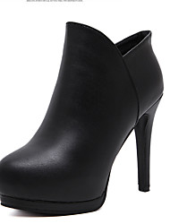 Women's Boots Fall PU Casual Stiletto Heel Black