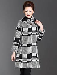 1898 Women's Plus Size / Casual/Daily Simple CoatCheck Hooded Long Sleeve Winter Gray Wool / Polyester