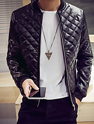 Men's Regular Padded Coat,Simple Going out / Casual/Daily / Holiday Solid-Polyester Polyester Long Sleeve Black / Brown