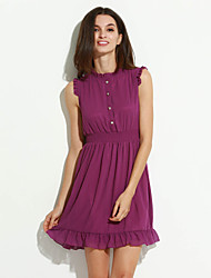 Women's Simple Solid Chiffon Dress,Round Neck Mini Polyester