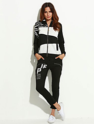 Women's Sports Plus Size / Active Hoodies Patchwork Black Polyester