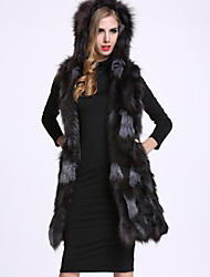 BF-Fur Style Women's Casual/Daily Sophisticated Fur CoatSolid Hooded Sleeveless Winter Black Fox Fur