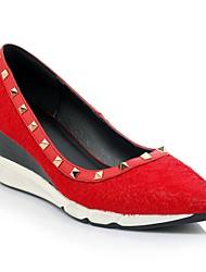 Damen-High Heels-Lässig-LederKomfort-Schwarz Rot