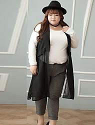 Feminino Tamanhos Grandes Skinny Chinos Calças-Cor Única Casual Simples rasgado Cintura Média Botão Poliéster Inelástico Inverno