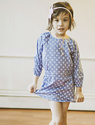 Girl's Casual/Daily Embroidered Dress,Cotton Spring / Fall Long Sleeve