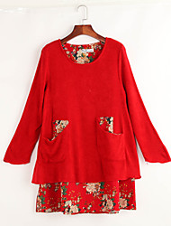 Women's Print / Patchwork Blue / Red / Brown Loose Thin Dress , Cute / Plus Sizes Round Neck Long Sleeve