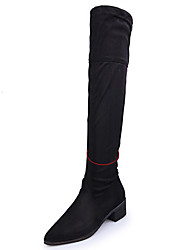 Women's Boots Spring Fall Winter Comfort Suede Outdoor Dress Casual Low Heel Zipper Black Red Walking