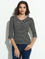 Women's Casual/Daily Simple Summer T-shirt,Striped Round Neck ¾ Sleeve White / Black Cotton Medium