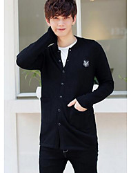Men's Casual/Daily Simple Regular Cardigan,Solid Black Round Neck Long Sleeve Cotton Fall / Winter Medium Stretchy