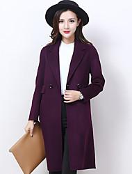 Damen Solide Einfach Lässig/Alltäglich Mantel,Winter V-Ausschnitt Langarm Blau Mittel Wolle / Polyester