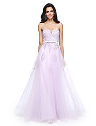 TS Couture Formal Evening Dress - Elegant A-line Sweetheart Floor-length Tulle with Appliques Beading Sash / Ribbon
