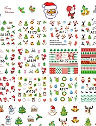 12 Designs Xmas New Year Gift Water Transfer Tips Nail Art Sticker Decals Christmas DIY Decor Manicure Styles A1165-1176