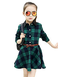 Girl's Casual/Daily Plaid Dress,Polyester Spring / Fall Long Sleeve