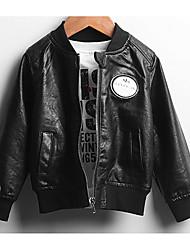 Boy Casual/Daily Solid Jacket & Coat,PU Fall Long Sleeve