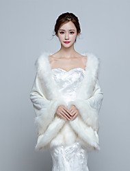 Women's Elegant Warm Wrap Capes Faux Fur Wedding / Party/Evening Winter Solid Thick White / Red