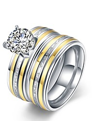 Ring Stainless Steel Zircon Classic Golden Jewelry Wedding Party Daily Casual Sports 1pc