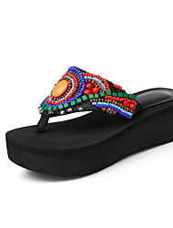 Women's Slippers & Flip-Flops Summer Comfort PU Casual Athletic Party & Evening Platform Rhinestone Black