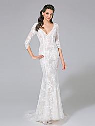 Lanting Bride® Trompette / Sirène Robe de Mariage  - Chic & Moderne Transparent Traîne Brosse Col en V Dentelle avec Bouton