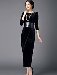 Women's Formal Simple Tunic Dress,Solid Round Neck Maxi Long Sleeve Black Others Fall / Winter High Rise Micro-elastic Medium