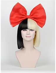 New Short paragraph Hair Bow Set Long Bangs Half Black Half Blonde Sia Styling Party Wigs High - end mesh  red Big bow