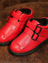 Girl's Boots Winter Comfort Leatherette Casual Flat Heel Magic Tape Black Red Others