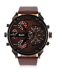 Men's Fashion Casual  Multiple Time Zones Christmas Sport Daily  Round Dial Alloy Watchcase  Leather Band Quartz Analog Wrist Watch(Assorted Color)
